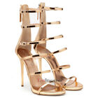 2017 New Womens Cover Heel Gladiator High Heel Sandals Zipper Rose Gold Shoes