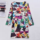 Fashion Women Long Sleeves Bodycon Colorful Print Clubwear Party Cocltail Dress