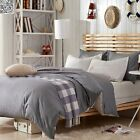 New Cotton Vintage Wash Quilt Doona Cover Set DOUBLE QUEEN KING Grey Linen A2434