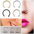 Surgical Steel Open Nose Lip Ring Hoop Piercing 0.8mm 6mm 8mm 10mm