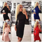 Sexy Women Party Evening Slim Pencil Dress Long Sleeve Polo Neck Bodycon Dress