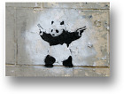 BANKSY PANDA WITH GUNS CANVAS PICTURE PRINT WALL ART