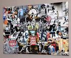 "BANKSY GRAFFITI COLLAGE CANVAS PICTURE WALL ART LARGE 20x30"" #A6"