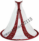 New White/Red Wedding Dress Bridal Gown Stock Size: 6 8 10 12 14 16 18
