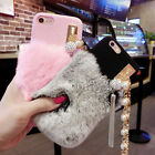 Fuzzy Rabbit Fur Bling Ring Strap Pearl Case Cover For iPhone 6 Plus 6S 7 Plus