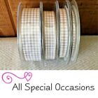 Berisford 7391 Gingham Check SILVER GREY Colour 18 Ribbon Small Check 10mm