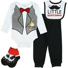 NEW baby boy 4 pc bodysuit bib socks pants 0-9 m  tuxedo costume wedding