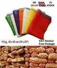 100 x Net Bags Sacks Vegetables Logs Kindling Wood Log Onions Orange 45x60cm15kg