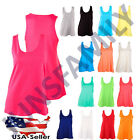 Womens 100%Cotton Loose Fit Tank Top Basic Relaxed Flowy Sleeveless Shirt S M L