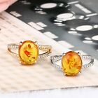 Amber Citrine transparent Crystal Ring Statement Jewelry Wedding Size7-10 Cute