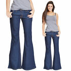 New Womens Dark Blue 60s 70s Retro Bellbottom Flares Hippy Wide Flared Jeans