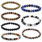 Handmade 8mm 10mm Natural Agate Gemstone Round Beads Stretch Bracelet Jewelry