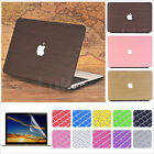 """3in1 Wood Design Leather Coated Matte Case for MacBook Air 11"""" Pro 13""""15""""+Retina"""
