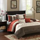 Luxury 7pc Rust & Brown Embroidered Floral Comforter Set ...