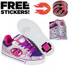 Heelys Motion Plus Trainers Silver Pink Purple Drip Girls Roller Skate Shoes