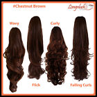 PONYTAIL #Chestnut Brown Curly Wavy Flick Falling Curls Clip Hair