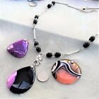 CHOOSE: Onyx Necklace Interchangeable Pendant Purple Light Orange Black #222