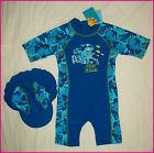 BOYS SHARK RASHSUIT  Sz 2 4 6 8 10 + SUN HAT - RASH SUIT Swimwear Rashi Togs NEW