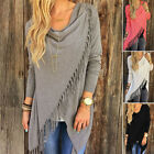 New Women Fringe Tassel Batwing Sweater Top Open Cardigan Shawl Cape Jacket Hot