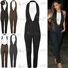 Womens 2 In 1 Halter Neck Deep V Neck Sleeveless Rompers Playsuit Jumpsuit