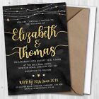 Wedding Day Evening Invitations & Envelopes, Winter Stars Gold Effect