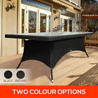 220cm PE Flat Rattan Outdoor Dining Table Garden Pool Patio w/ Glass Table Top