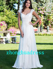 New White/Ivory Appliques Chiffon Wedding Dress Bridal Gowns Size 6 to 20