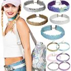 Ladies New Sequin Choker Necklace DollzKill Style Glitter Fashion Jewellery Glam