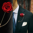 Fashion Brooch Rose Flower Lapel Badge Suit Pin Wedding Prom Jewelry Men Corsage $0.75 USD