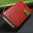 Genuine Real Cowhide Leather Stand Case Wallet Card Cover For Apple iPhone 5S SE