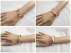 4 Unique Vtg-Now Jewelry Leather XOXO Pearl Pink Silver Cuff Hinge StyleBracelet