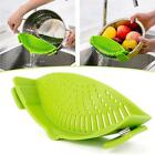 Pan Strainer SNAP'N STRAIN Clip-on Silicone Pasta Draining Liquid Good Helper HF