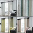 Riddle Lined Eyelet Curtains Distressed Vertical Stripe Ready Made Pair Ring Top