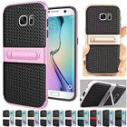 PC+TPU Armor Rugged Stand Rubber Hybrid Back Case Cover For Samsung S6 S7 edge