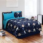 Navy Blue GLOW IN THE DARK Galaxy Invaders Bedroom Comforter Set - TWIN SIZE