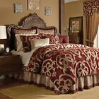 Luxury Burgundy & Gold Corsica Bedroom Comforter Set w/Twist Cords - QUEEN KING