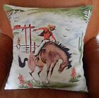 """Western Barkcloth Pillow Cover """"Rodeo"""" 50's Cowboy Bronco Up. Faux Suede/Canvas"""