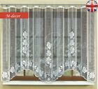 """Jacquard floral net curtain with curtain tape WHITE NEW 130cm x 300cm (51""""x118"""")"""