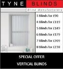 *Bargain* 4 VERTICAL BLINDS - £99 (headrail & slats) DALIA up to 6ft w x 7ft d