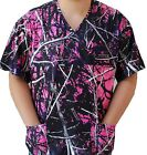 Muddy Girl Ladies Camo Nursing Scrub Top Camoflauge 2 pocket medical vet uniform