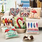 Birds Feather Pattern Home Office Decor Cotton Pillow Case Throw Cushion Cover