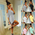 Fashion Womens Summer Off Shoulder Loose Casual T-shirt Long Mini Blouse Top