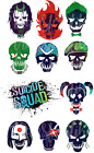 SUICIDE SQUAD SKULLS HARLEY QUINN JOKER IRON ON HEAT TRANSFER TSHIRT LOT SS
