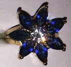 Beautiful 9kt Yellow Gold Plated Deep Blue Flower Crystal Zirconia Cocktail Ring