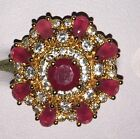 Beautiful 9kt Yellow Gold Plated Rose Red Round Set Crystal Tiered Cocktail Ring