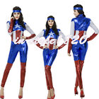 Women Sexy Lady Captain America Punk Outfit Costume Fancy Halloween Xmas Party