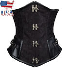 US STOCK Vintage Black & Brown Brocade Steampunk Cupless Corset Top Underbust