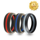 3 Pack! Black & Blue, Black & Red, Black & Grey Striped Silicone Wedding Bands!