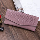 Woman Envelope Woven Leather Wallet Clutch Credit Card Purse Smartphones Bag