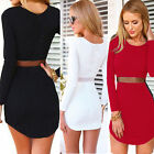 Casual Womens Bodycon Long Sleeve Dress Summer Ladies Party Evening Mini Dresses